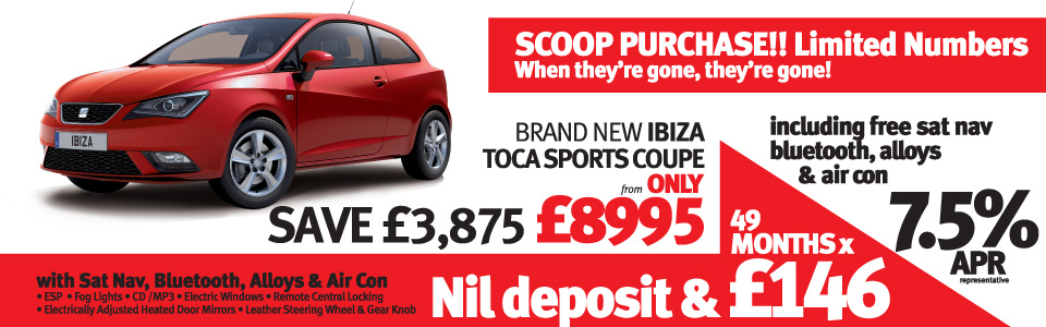 BRAND NEW Ibiza Toca Sports Coupe 3dr
