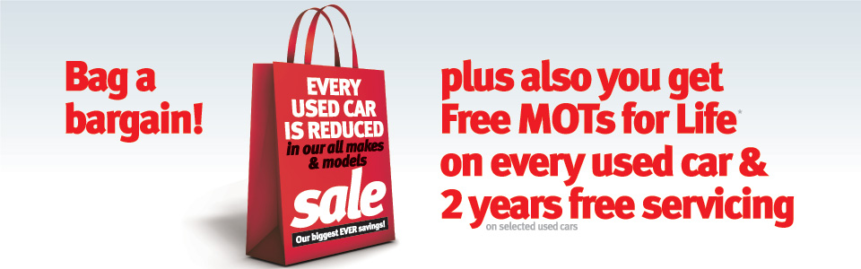 Every Used Car is Reduced and Free MOT's for Life plus 2 Years Free Servicing